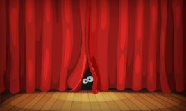 Eyes Behind Red Curtains On Wood Stage